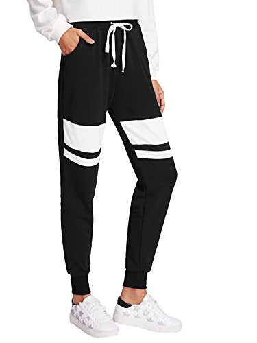 SweatyRocks Women Pants Color Block Casual Tie Waist Yoga Jogger Pants