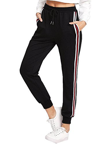 SweatyRocks Women's Drawstring Waist Striped Side Jogger Sweatpants With Pockets