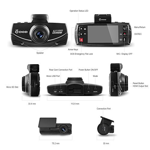 NEW 2017 DOD LS500W 2-Channel 1080P Dash Cam, Sony Starvis, G sensor, Large f/1.6 Lens,145° Ultra Wide Angle, Super Night Vision, Parking Surveillance, up to 128GB memory, Free 32GB SD Card Included