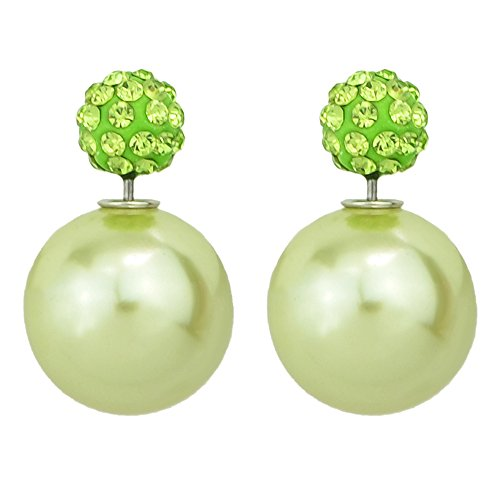 Feelontop Fashion Candy Color Imitation Pearl Rhinestone Double Balls Stud Earrings with Jewelry Pouch