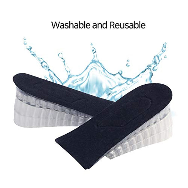 Heel Lift Inserts - Height Increase Insoles for Men & Women - Invisible Silicone Gel Cushion Shoe Pads - 3 Detachable Layers