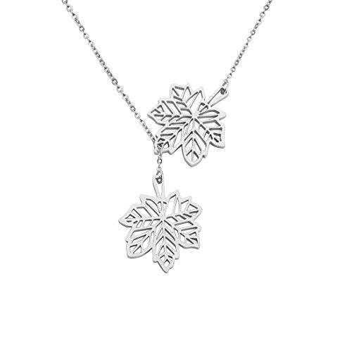 Double Canadian Maple Leaves Y Lariat Necklace for Women Girls