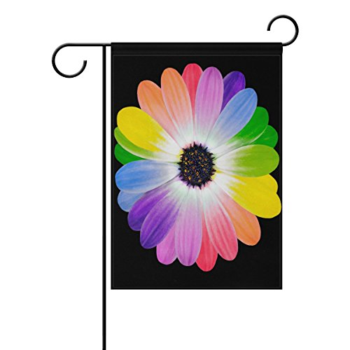 OREZI Garden Flag,12 X 18 Inches Double Sided Decorative with Rainbow Flower Daisy Garden Flag for Colorful Spring Summer Blooms Garden Flag Decorate for Outdoor Yard Garden