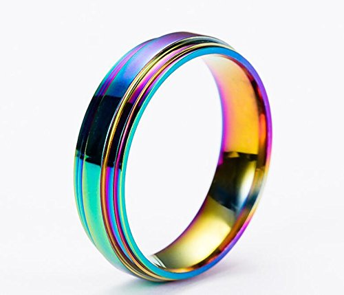 JAJAFOOK Jewelry Unisex's Stainless Steel LGBT Gay Lesbian Pride Rainbow Wedding Band Ring 6mm