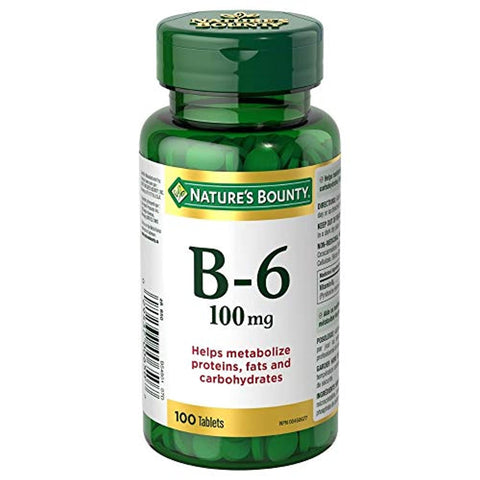 Nature's Bounty Vitamin B6 Supplement, Helps Metabolize Proteins, Fats, and Carbs, 100mg, 100 Tablets