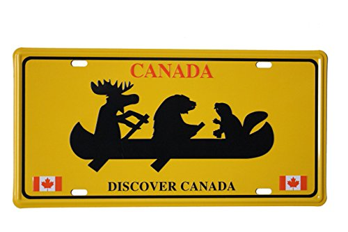 "DISCOVER CANADA - BEAVER, BEAR, MOOSE On Boat Souvenir CAR License Plate .. Size : 12"" x 6"" Inch ( 31 x 15.5 Cm ) .. New"