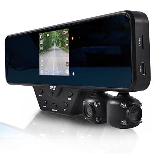 Pyle Rearview Mirror Dual Car Dash Camera Recorder For Security Night Vision HD 1080P (PLCMDVR52)