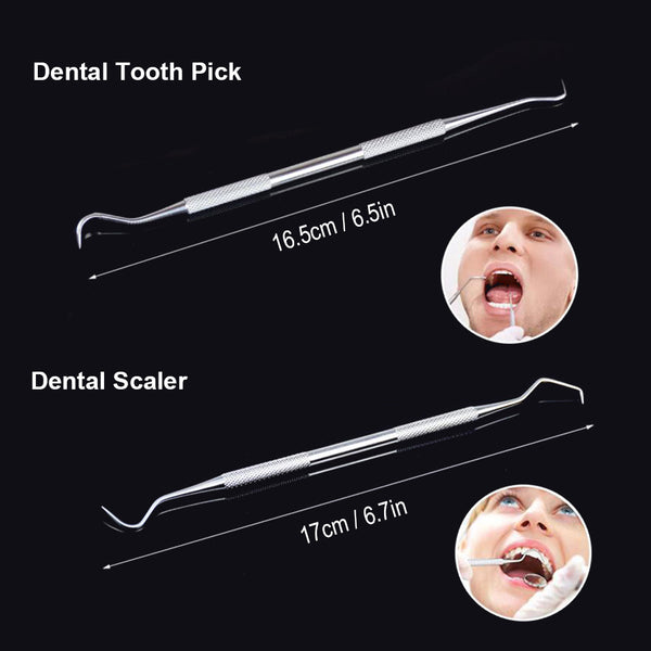 4pcs Stainless Steel Teeth Whitening Kit Dental Tools Dentists Pick Tool Tooth Scraper Set for Personal & Professional Use