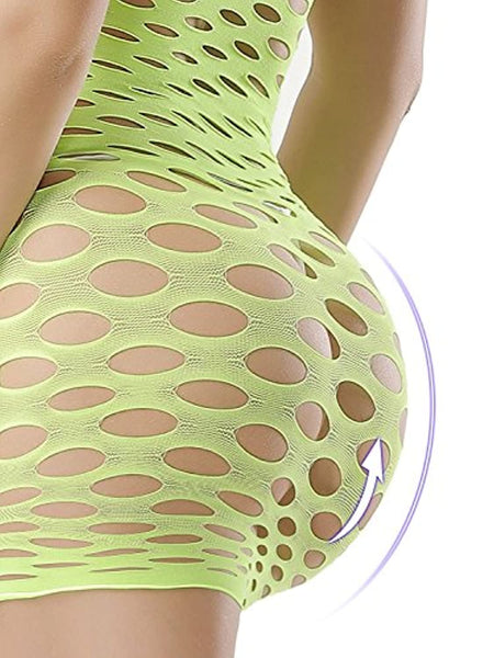 EVAbaby Strapless Fishnet Mini-Dress Lingerie One Size Chemise Babydoll for Women