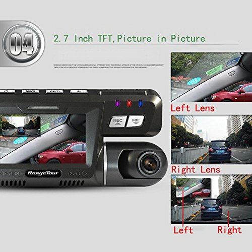 Dual Lens Dash Cam Front and Rear Dual Camera for Cars with Night Vision, Left 170 Degree + Right 120 degree Wide Angle Driving Recorder DVR Support G-sensor Loop Recording Motion Detection