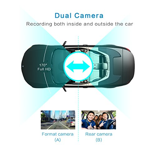 Dual Dash Cam with GPS ,BLUEPUPILE 3.0 inch Dual Camera .1080P SOS Loop Recording ,HDR , Gravity sensor,Support 64G