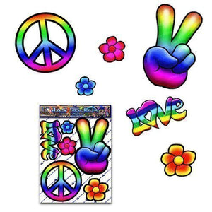 PEACE Hippy Rainbow Large FLOWER Love Pack Decal Car Stickers for Laptop Motorbikes Caravan - ST00007_LGE - JAS Stickers