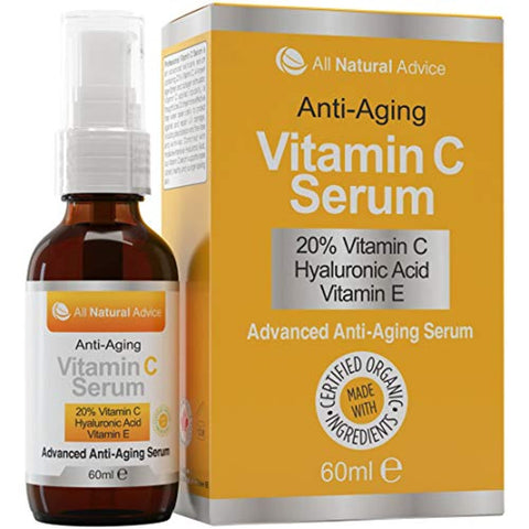 20% Vitamin C Serum - 60 ml / 2 oz Made in Canada - Certified Organic Ingredients + 11% Hyaluronic Acid + Vitamin E Moisturizer + Collagen Boost - Anti-Aging, while reducing Sun Spots, Wrinkles and Dark Circles, Excellent for Your Skin + Includes Pump & D