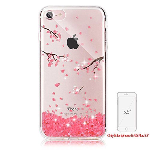 Bling Transparent Case For Iphone 6 6S PLUS, Girlyard Crystal Glitters Peach Flower Design Case Cover Ultra Clear Silicone Bling Protective Case Cover Shell Rhinestones Slim Fit Soft Back Case Cover