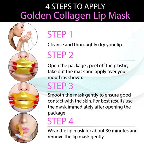 Lip Mask 24K Gold Golden Collagen Kit of 30pcs Patches Mouth Sheets Gel Crystal Beauty Anti Aging Set for Fine Lines and Wrinkles Removal, Moisturizing Hydration, Skin Firming and Nourishing