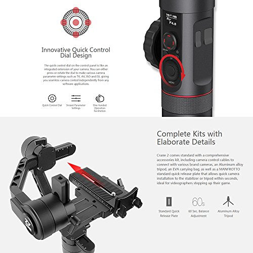Zhiyun Crane 2 2017 Follow Focus 3-Axis Handheld Gimbal Stabilizer 7lb Payload OLED Display 18hrs Runtime 1Min Toolless Balance Adjustment for Camera Weighing 1.1lb to 7lb