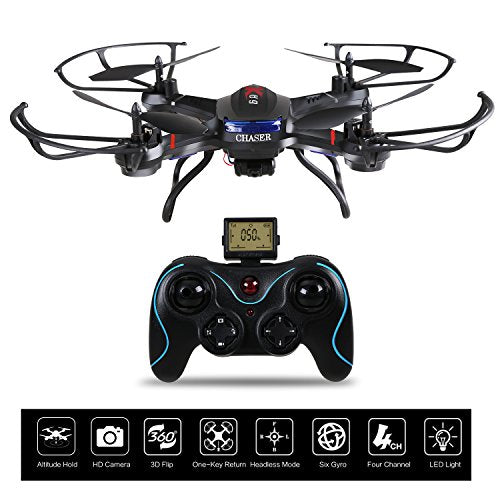 Holy Stone Chaser RC Drones with HD Camera, 4CH 2.4GHz Equipped with Headless System, One Key Return [ Upgraded with Altitude Hold Function]