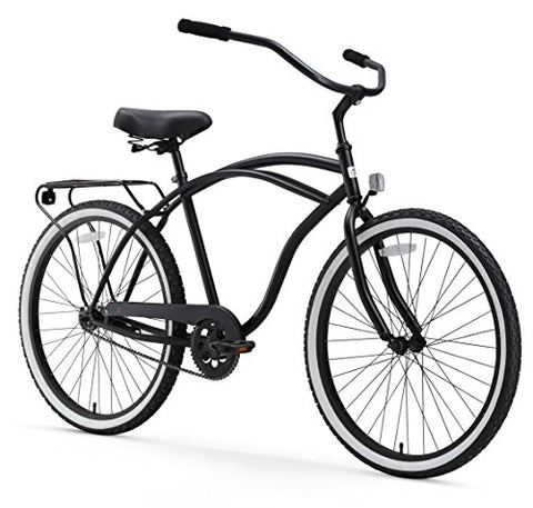 "sixthreezero Around The Block Men's 26-Inch Single Speed Cruiser Bike, Matte Black, 18"" / One Size"