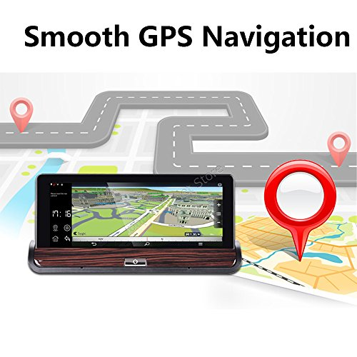 Yuyitec 7 Inch 3G Wifi Car DVR Rearview Mirror Android 5.0 GPS Navigation Video Recorder Bluetooth Dual Lens 1080P Dashcam Remote Parking Monitor
