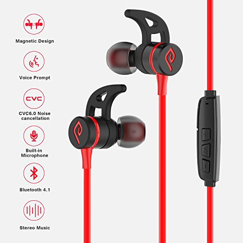 Bluetooth Headphones, Parasom A1 Magnetic, V4.1 Wireless Stereo Bluetooth Earphones Sport Headset In-Ear Noise Isolation Headphone Earbuds for Gym Running -Sweatproof, Microphone (Black/red)