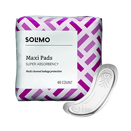 Amazon Brand - Solimo Maxi Pads, Super Absorbency, Unscented, 48 Count