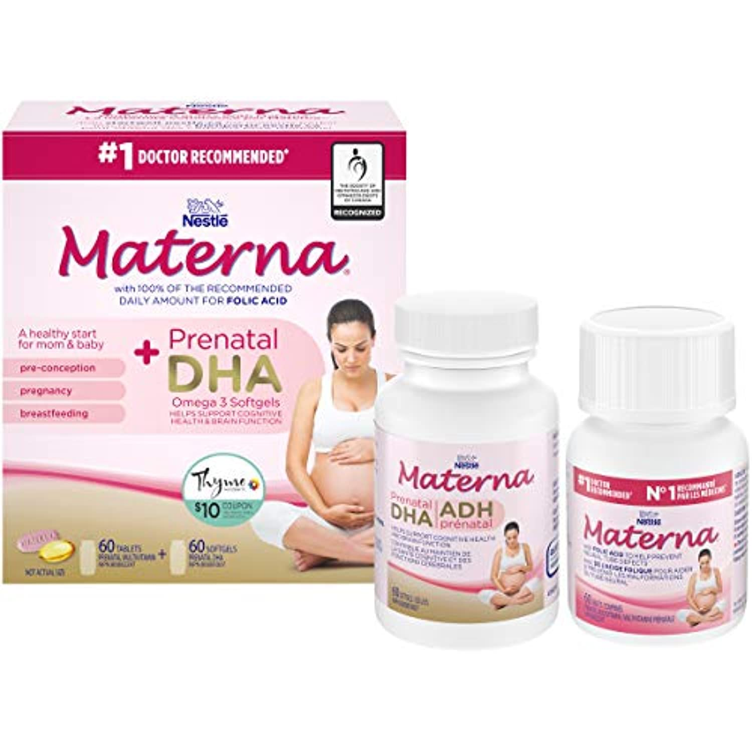 Materna Materna + Dha Prenatal Supplement, Combo-Pack (60 Tablets + 60 Soft gels), 120 Count