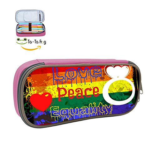 QLLNICE Love peace And Equality Pencil Bag Pen Case Stationery Pouch Student Box