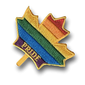 "[Single Count] Custom and Unique (3.5"" x 3.5"" Inch) Maple Leaf Shaped Rainbow LGBT Gay Lesbian Bisexual ""Pride"" Stripes Symbol Iron On Embroidered Applique Patch {Red, Orange, Yellow, Green, Blue, & Purple Colors}"