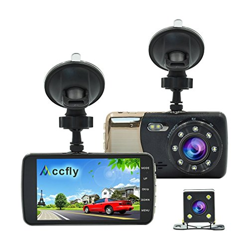 Accfly Dash Cam HD 1080P Dual Dash Camera With Rear Camera,Car Camera 170 Degree Wide Angle, Night Vision,Loop Recording, Motion Detection ,G-sensor with LDWS & FCWS