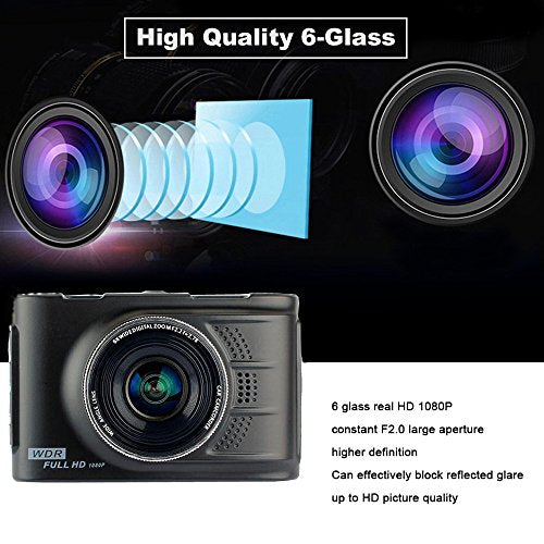 "Podofo Car Camera 3.0"" LTPS Full HD 1080p 170° Wide Angle Car DVR Dash Cam Zinc Alloy Metal Body WDR Vehicle Video Recorder, 32GB TF Card Included"