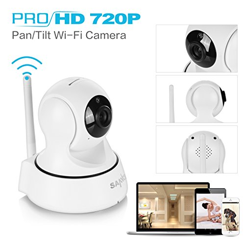 SANNCE Wifi 720P IP Camera, Home Security Wireless IP Camera with Motion Detection and Two-Way Audio Pan/Tilt Night Vision Baby Monitor (White)