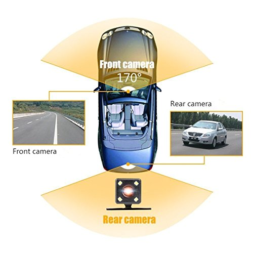MERRILL Dash Cam Dual Cams 1080P 170° Wide Angle Loop Recording G-sensor Remote Control 16G SD Card