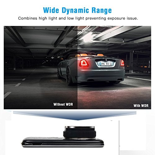 TOGUARD Dash Cam Front and Rear Dual Camera for Cars,4.0'' IPS Screen,HD 1080P Car Dash Camera, Rearview Backup Camera,130 Degree Wide Angle, WDR, Loop Recording, G-sensor, Parking monitor
