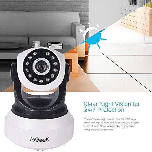 ieGeek IP Camera, Wifi Camera Wireless Webcam Home Security Camera System HD 720P Video Surveillance Security System IR-Cut Night Vision P2P Remote Pan Tilt 2-Way Audio Motion Detect - Micro SD Extend