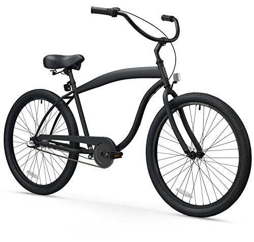 sixthreezero Men's In The Barrel 3-Speed 26-Inch Beach Cruiser Bicycle, Matte Black