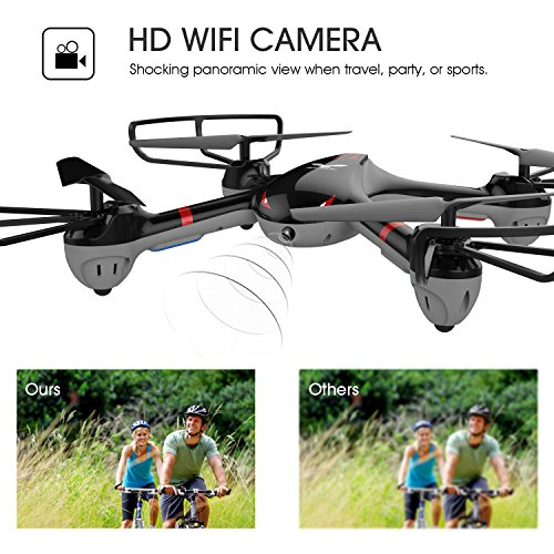 DROCON Cyclone X708 - Drone for Beginners Training Quadcopter Equipped with 3D Flip Headless Mode One Key Return Easy Operation (X708W with WIFI Camera)