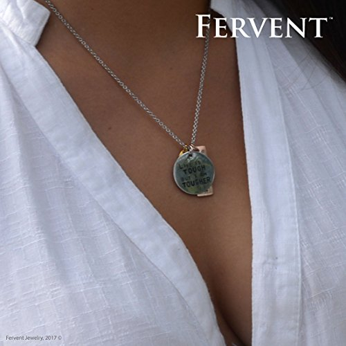 Fervent Christian Charm Necklace for Teen Girls w/[Men Gold Cross Chain Option]