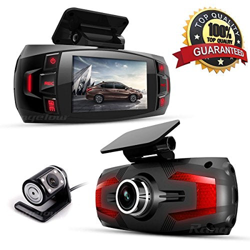 Dash Cam, Car Full HD 1080P Dash Camera Dual Lens Recorder Front + Rear Dashboard Camera with G-Sensor, Loop Recording, Parking Monitoring, Motion Detection Free 16GB Memory SD Card