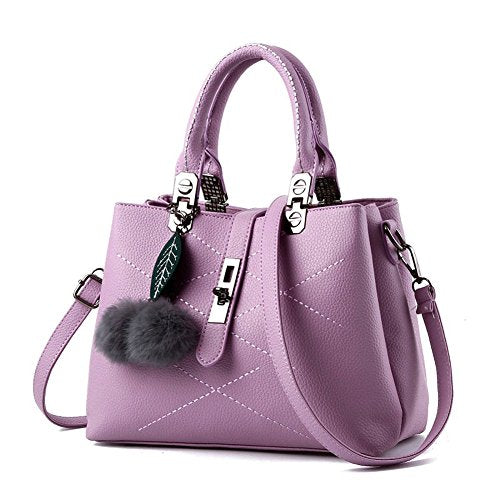 Women Handbag with Furry Pom Pom ball
