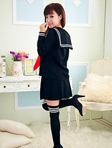 WOTOGOLD Anime Cosplay Costume Navy Sailor Uniform Black Students School Uniforms