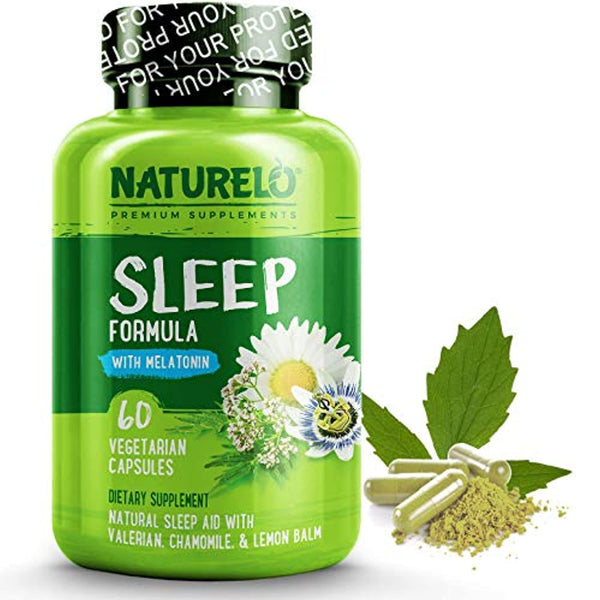 NATURELO Sleep Formula - with Valerian, Chamomile, Passion Flower, Lemon Balm, Hops & Melatonin - Best Natural Sleeping Aid - Fast Dissolve - Deep and Restful Sleep - 60 Capsules