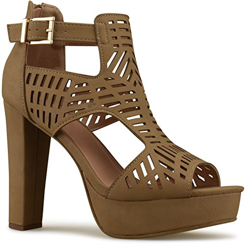 Premier Standard Women's Laser Cut Out Ankle Strap High Heel - Open Toe Sandal Pump - Chunky Wooden Heel Platform Shoe