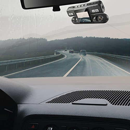 Pruveeo MX2 Car Dash Cam Dual Lens 120 plus 120 Degree Wide Angle, Dash Camera for Cars, Dashboard Camera Car Driving Recorder DVR