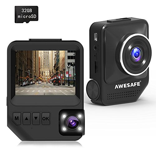 AWESAFE Mini Dash Cam for Cars Front and Rear with FHD 1080P 170° Wide Angle,Night Vision,Parking Monitor,G-Sensor,32GB Card Loop Recording
