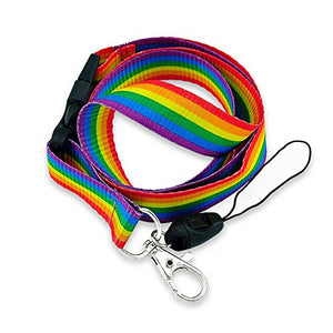 Rainbow Striped Fabric Lanyard with Quick Release and ID/Badge/Card Holder