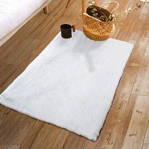 Softlife Shaggy Faux Rabbit Fur Rug 2' x 3' Rectangle White Soft Fluffy Floor Carpets for Bedroom Living Room Sofa Chair Home Decor Area Rugs