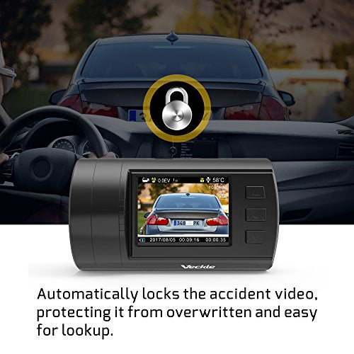 Dual Dash Cam, Veckle Mini 0906 Dual Channel 1080P FHD Dashboard Camera Recorder with GPS, CPL Filter, Sony Night Vision Exmor Sensor, 7 Lens Wide Angle 1.5 inch LCD, Loop Recording Dash Cam for Car