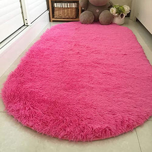 Noahas Ultra Soft 4.5cm Velvet Bedroom Rugs Kids Room Carpet Modern Shaggy Area Rugs Home Decor 2.6' X 5.3' (Hot Pink)