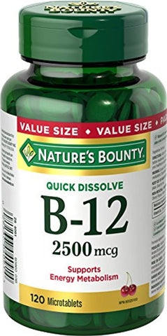 Nature's Bounty Vitamin B12 Supplement, Supports Energy Metabolism, 2500mcg, 120 Microtablets