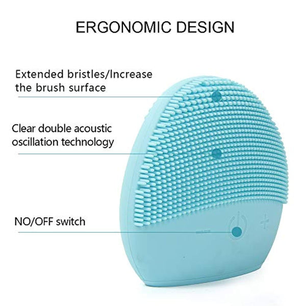Mini Silicone Facial Cleansing Brush - FEITA Waterproof Silicon Face Cleaner and Electric Masager System for All Skin Types (Blue)